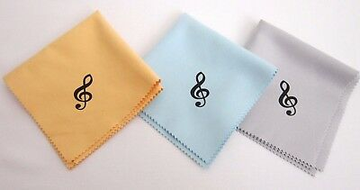 """3 Music Polish Cleaning Cloth For Guitar Bass Violin Treble Clef 10""""- 3 colors"""