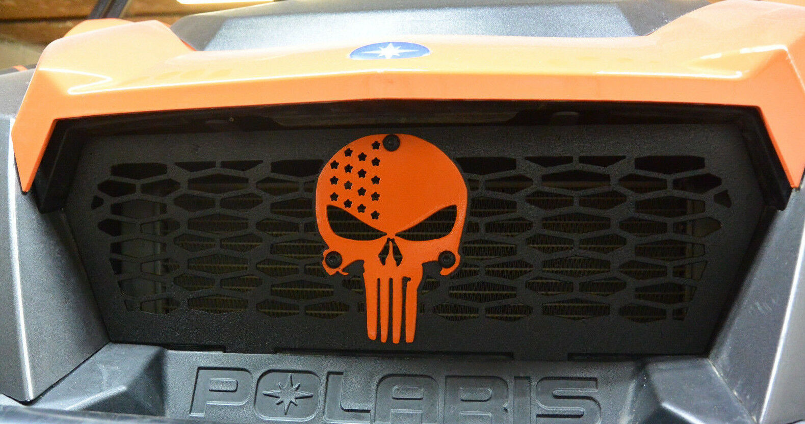 Custom Orange Punisher Front Grill Grille for Polaris General 1000 16-18