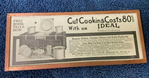 "VTG 1915 Framed Print Ad ""Ideal Fireless Cookstove"" by Harvey"