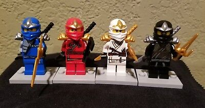 Lego Ninjago Lot of 4 Minifigures Jay DX, Cole DX, Zane DX, Kai DX -Katana Sword