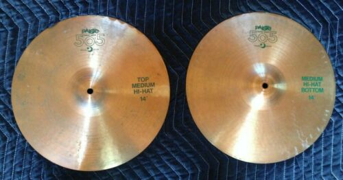 "Paiste 505 Green Label 14"" Medium Hi-Hat Cymbal Pair - Vintage - Amazing Sound!"