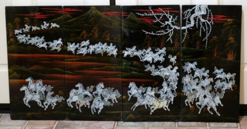 VGUC Asian Wild Horses 4-Panel Mother of Pearl Black Lacquer Wall Panels 46 x 23