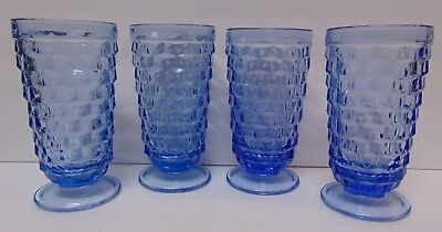 SET 4 1960s COLONY Whitehall Blue Cube Tumblers Footed Glass Ice Tea Soda Goblet