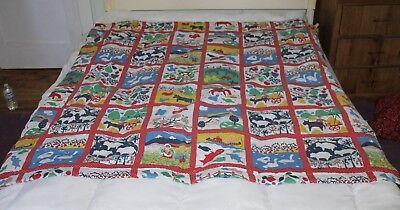 Child's Farm Coverlet Blanket 61 x 60 Animals Fish Birds Dogs Horses Bedspread