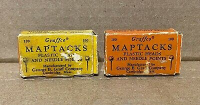 Vintage Graffco Maptacks Lot 2 Full Boxes Tacks Plastic Heads Red Yellow