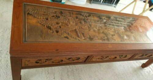 Asian Carved Wood Coffee Table with drawers Chinese carved wood vintage