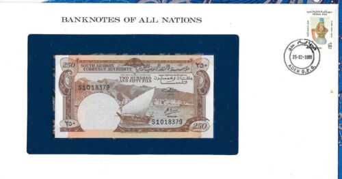 Banknotes of All Nations Yemen PDR 1965 250 Fils P-1b UNC sign 2