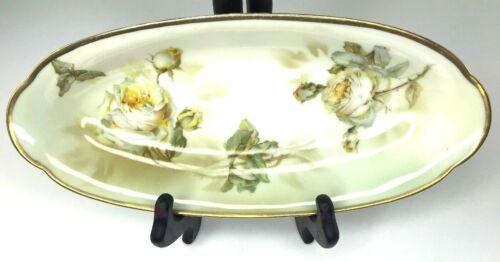 Antique Erdmann Schlegelmilch Suhl Oval Celery Dish Yellow Rose Gold Rim Prussia