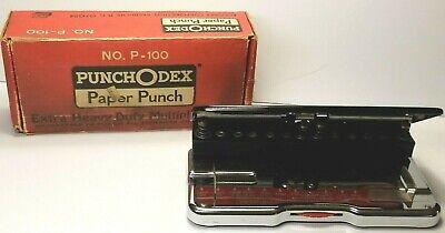 Vtg Punchodex P-100 Rolodex T3 Hole Punch Xtra Heavy Duty With Original Box