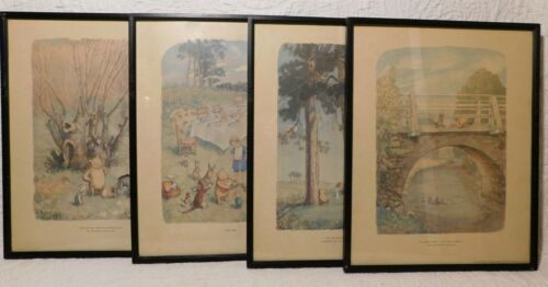 4 WORLD OF POOH Vintage Framed Prints 11x14 Classic Winne Piglet Roo Eeyore