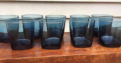 9 Morgantown DARK BLUE Whiskey Rocks Cocktail Drinking Glasses Heavy Bottoms 4
