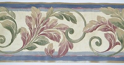 - Warner GREEN & MAROON LEAF SWIRLS BLUE/GOLD TRIM Wallpaper Border 5 Yards