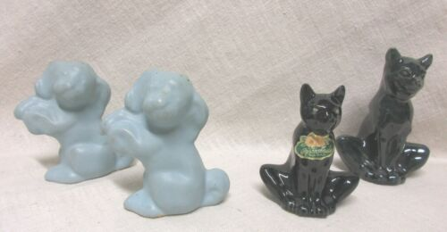 ROSEMEADE BLACK CAT AND BEGGING DOG SALT AND PEPPER SHAKERS