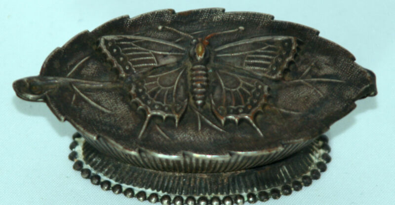 ANTIQUE W. Avery & Son Redditch~~BUTTERFLY on LEAF NEEDLE CASE~~c1880