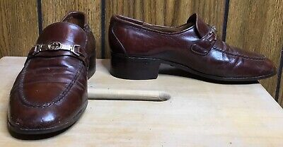 Vintage Women GUCCI brown Leather Logo Heel Loafer Shoe Sz 6? Buckle Slip On