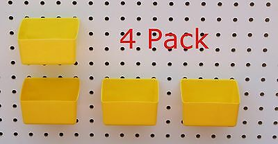 Plastic Yellow Board Bin 4 Pack Tool Workbench Pegboard Not Included