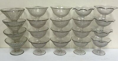 Lot of 20 crackle clear glass sherbets