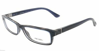 Prada Eyeglasses VPR 09O EAR-1O1 Blue Horn Rectangular Authentic 53mm