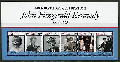 Palau 2017 MNH JFK John F Kennedy 100th Birth Ann 6v M/S II US Presidents Stamps