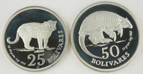 Venezuela 1975 25 & 50 Bolivares 925 Silver 2 Proof Coin Set Jaguar & Armadillo