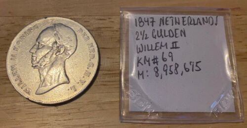 1847 NETHERLANDS 2 1/2 GULDEN William II KM#69.2