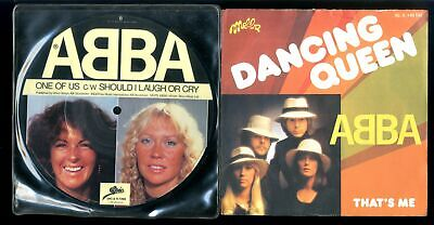 "ABBA LOT 7"" 45 PICTURE DISC One If Us MINT + Dancing Queen FRANCE w/PIC SLV M="