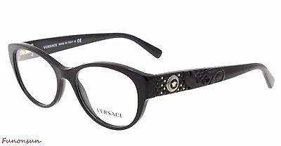 Versace Women's Eyeglasses VE MOD 3195 GB1 Black Gold Cat Eye Plastic Frame