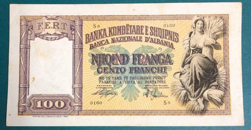 Albania 100 Franga 1940 PICK# 8 XF+. (#1981)