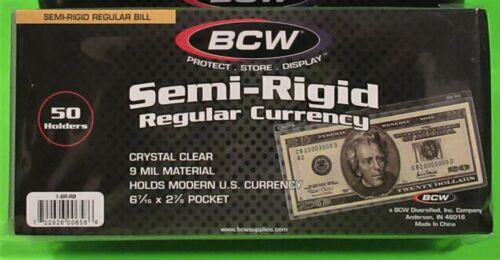 50 SEMI-RIGID REGULAR CURRENCY HOLDERS,HOLDS US & OTHER CURRENCY,FREE SHIPPING!