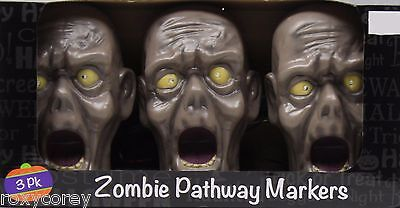 Halloween 3 Pack of Zombie Pathway Markers Eyes Light Up & Creepy Sounds NIB - Creepy Halloween Sounds