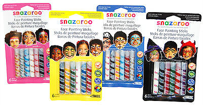 Official SNAZAROO FACE PAINTING STICKS (6 Pack) Halloween Boys Girls Stage Make ](Halloween Face Painting Girl)