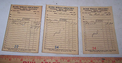 Three 1954 Ross Wells Grocery Store Sales Receipts Riley Indiana