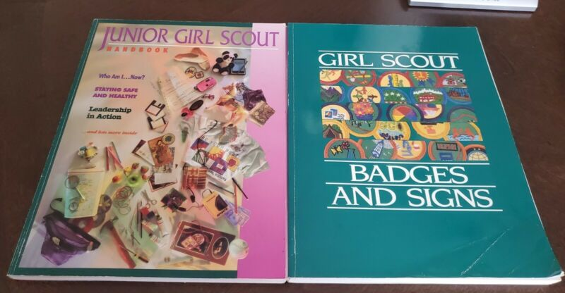 Lot of 2 1990 Girl Scout Badges And Signs Book, Junior Girl Scout Handbook 1994