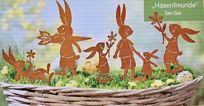 Gartenstecker 6 Hasen NEU aus Metall in rost - braun für Ostern Dekostecker