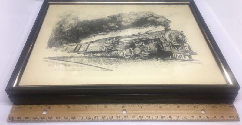 Lot Of 3 Locomotive Train Metal Glass Frame Pencil Sketch Roscoe Misselhorn Used