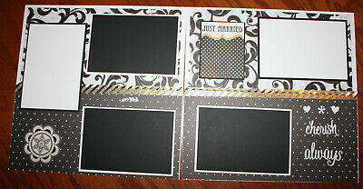 Wedding 12 x 12 premade scrapbook layout double page 3D hadmade photo ready 12x12 Page Layout Scrapbook