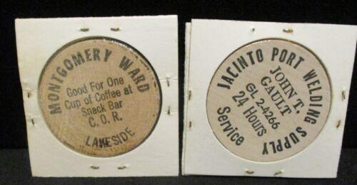 Wooden Nickels Montgomery Ward & Jacinto Port Welding Supply   ENN COINS