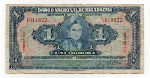 1951 NICARAGUA 1 CORDOBA BANKNOTE