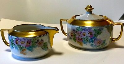 JORGENSEN  SUGAR CREAMER SET LOTS OF GOLD LUSTER    PINK WILD ROSES     PERFECT!