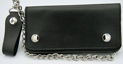 """Men's Leather Chain Wallet Black Bi-Fold 7"""" Biker Trucker 2554 Biker Bi Fold Chain Wallet"""