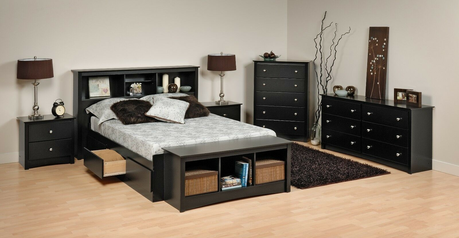 Prepac Sonoma Platform Storage Bed, Dresser, Chest, Nightsta