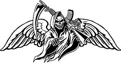Grim Reaper Gun Scythe Wings Skull Monster Car Truck Window Vinyl Decal Sticker](Grim Reaper Wings)