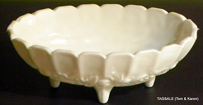 Large Footed Glasses - INDIANA GLASS - COLONY HARVEST GARLAND  - LARGE  FOOTED MILK GLASS CONSOLE BOWL