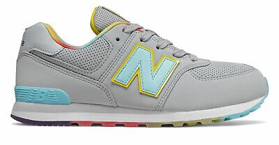 New Balance Kid's 574 Big Kids Female Shoes Grey with Blue