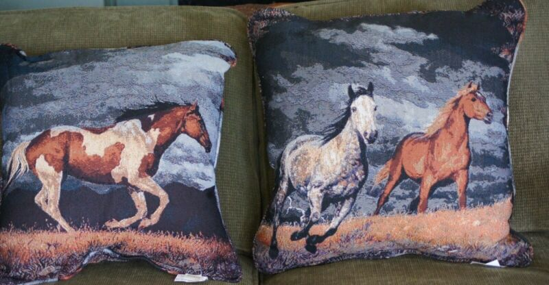 "Western Decor Horse Decorator Pillows, 20""x20"",Set of Two, 2 sided, Marshfield"