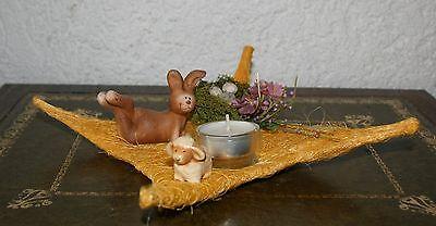 Ostern Dekoration Sisalraute gelb 20 cm x 20 cm Hase Teelicht im Glas Utensilien