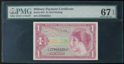 Series 641 $1 MPC Military Payment Certificate PMG Superb Gem New 67 EPQ