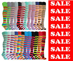 THIGH-HIGH-LONG-OVER-THE-KNEE-SOCKS-COTTON-RICH-24-FASHION-STRIPE-COLOURS-UK-4-8