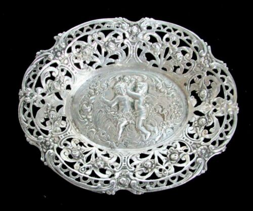BEAUTIFUL 19th CENTURY AUSTRIAN SILVER RETICULATED DISH WITH CHERUBS