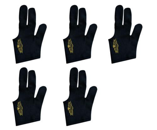 Lot of 5 Black Left handed Champion Sport Billiards Gloves For Pool Cue Sticks